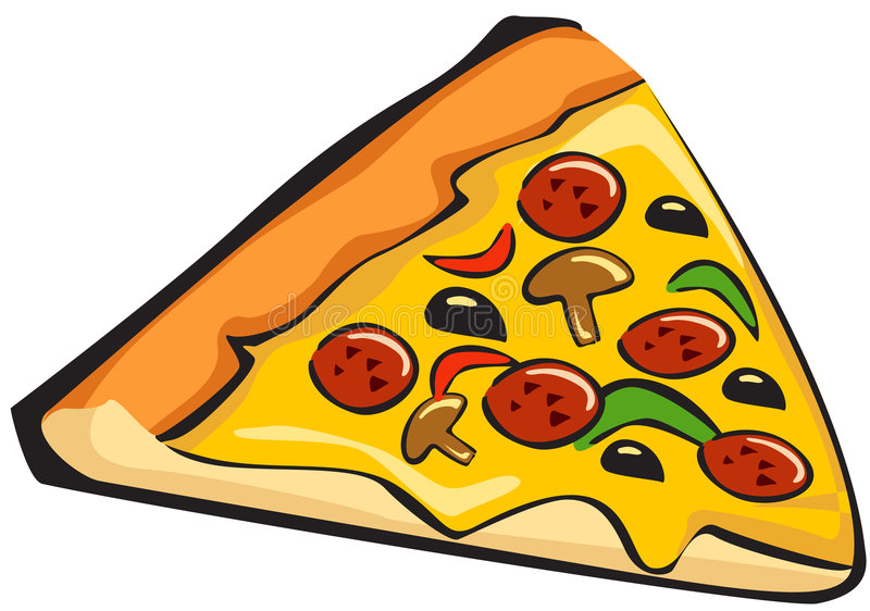Pizza. Illustration of sliced a pieced of tasty pizza. Vector stock illustration