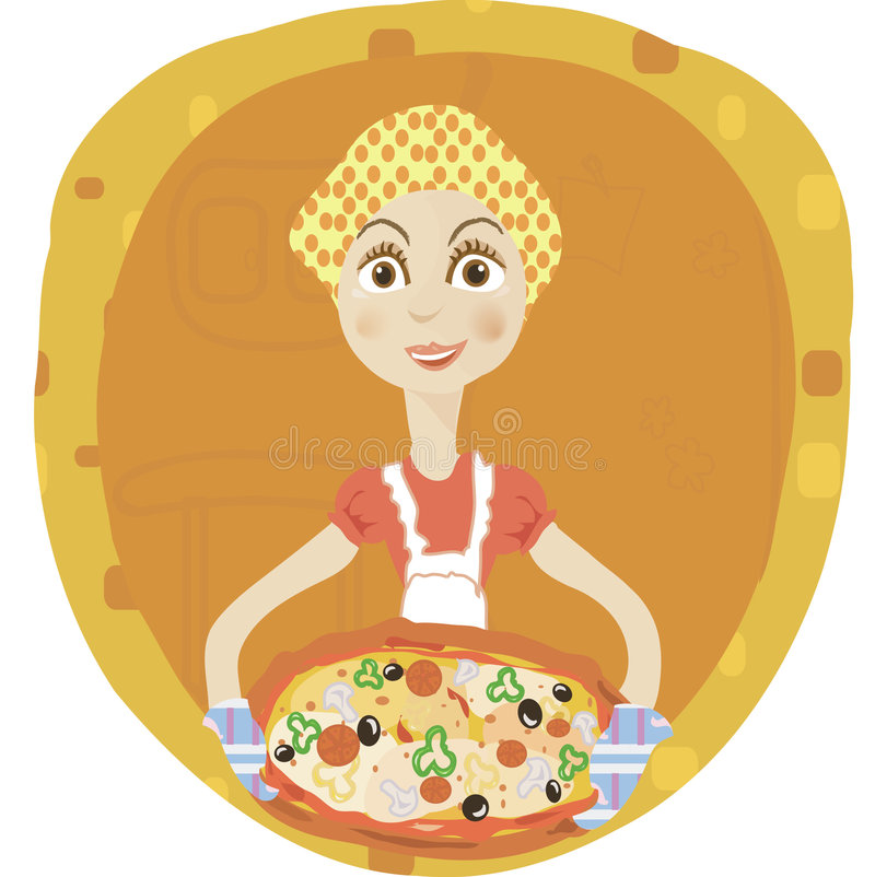 Download Pizza stock vector. Image of young, pepper, styled, cooking - 6865189