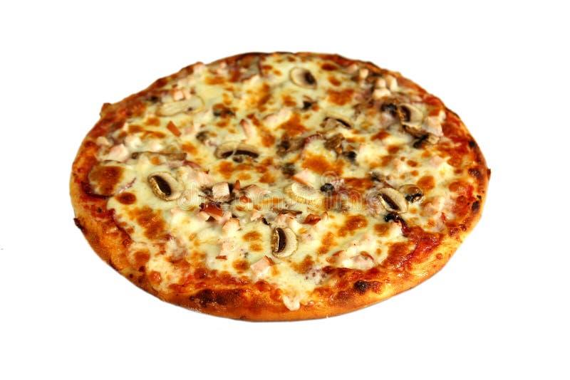 Pizza aislada en blanco fotos de archivo