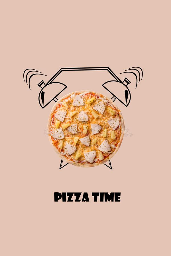 Pizza and alarm clock hand drawn illustration on beige background. The inscription Pizza time. royalty free stock image