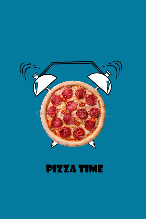 Pizza and alarm clock hand drawn illustration on blue background. The inscription Pizza time. royalty free illustration