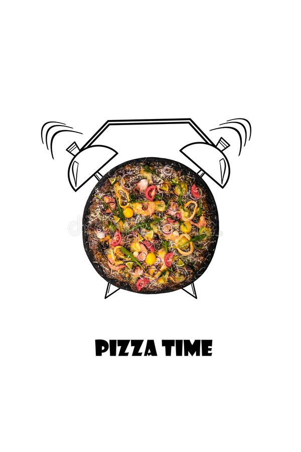 Pizza and alarm clock hand drawn illustration isolated on white background. The inscription Pizza time. vector illustration