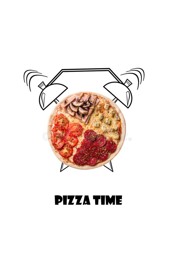 Pizza and alarm clock hand drawn illustration isolated on white background. The inscription Pizza time. royalty free stock images