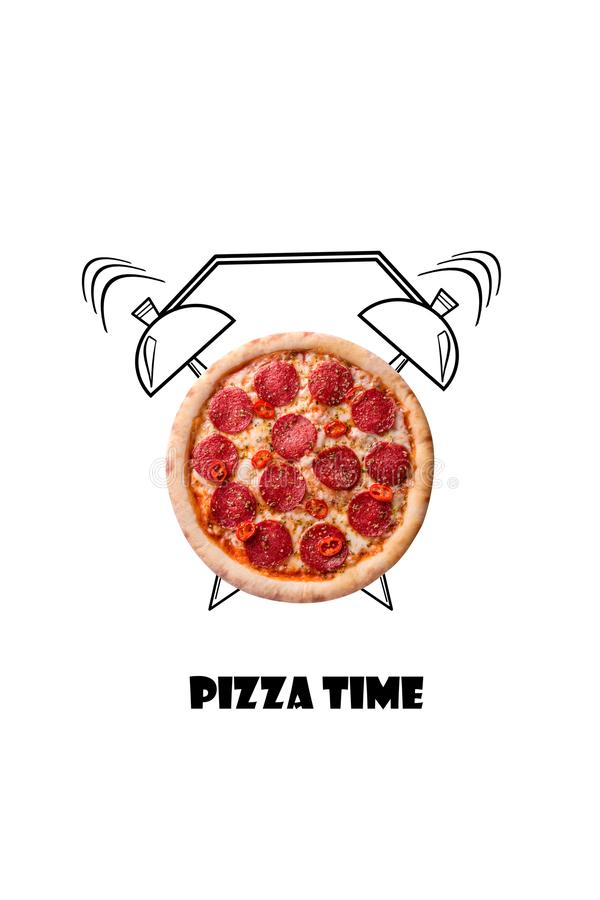 Pizza and alarm clock hand drawn illustration isolated on white background. The inscription Pizza time. Creative design for menu, cafe, restaurant royalty free stock photo