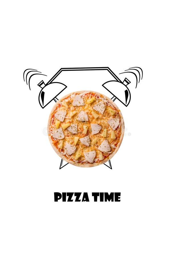 Pizza and alarm clock hand drawn illustration isolated on white background. The inscription Pizza time. royalty free stock photos