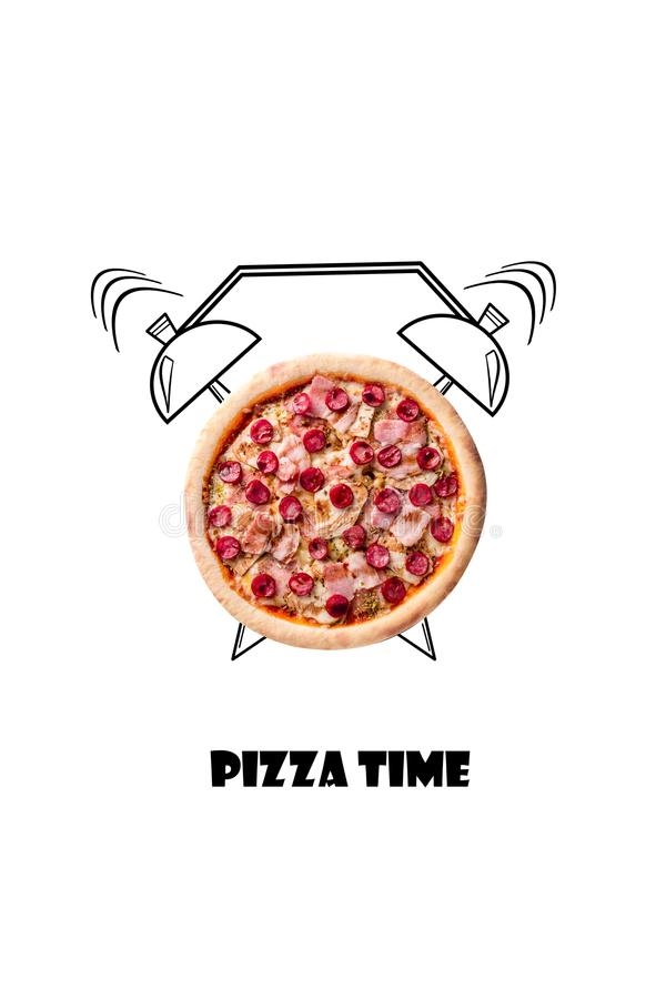 Pizza and alarm clock hand drawn illustration isolated on white background. The inscription Pizza time. stock photos