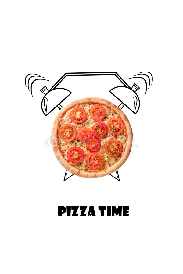 Pizza and alarm clock hand drawn illustration isolated on white background. The inscription Pizza time. stock illustration