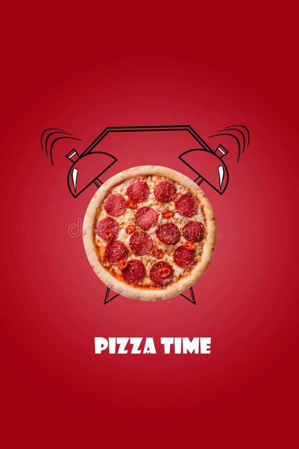 Pizza and alarm clock hand drawn illustration on red background. The inscription Pizza time. vector illustration