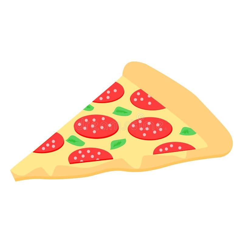 Pizza, als driehoek wordt op witte achtergrond wordt geïsoleerd gesneden die; vectorillustratie stock illustratie