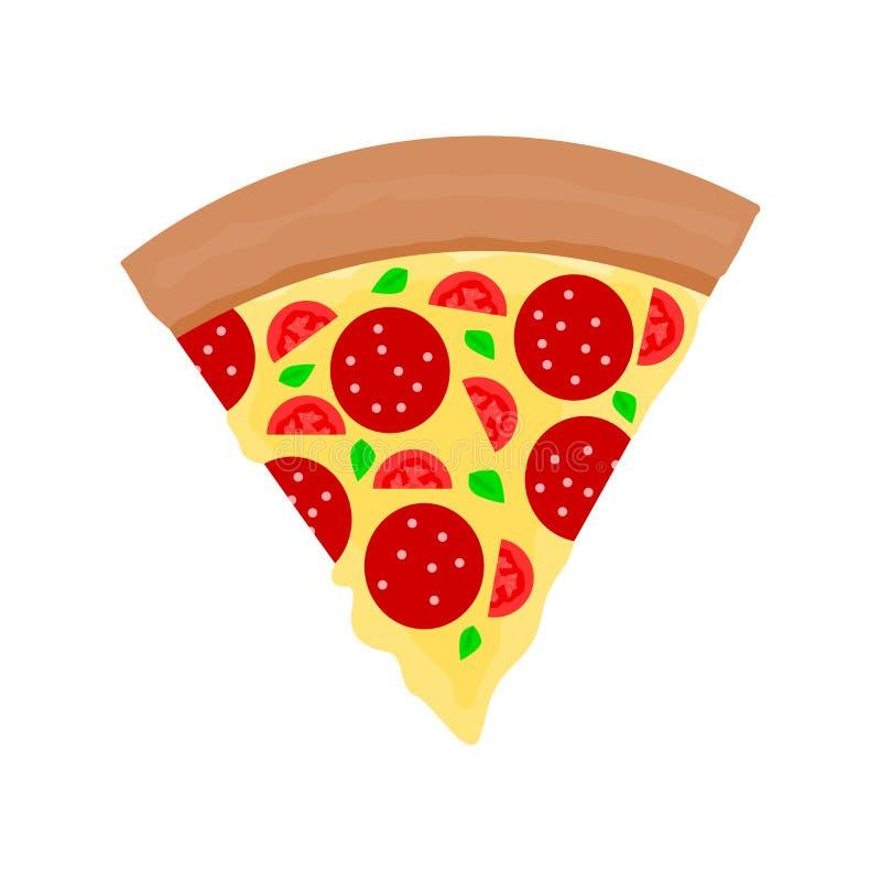 Pizza, als driehoek wordt op witte achtergrond wordt geïsoleerd gesneden die; vectorillustratie royalty-vrije illustratie
