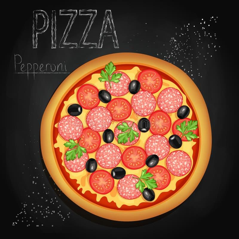 Pizza auf einem schwarzen Hintergrund lizenzfreie abbildung