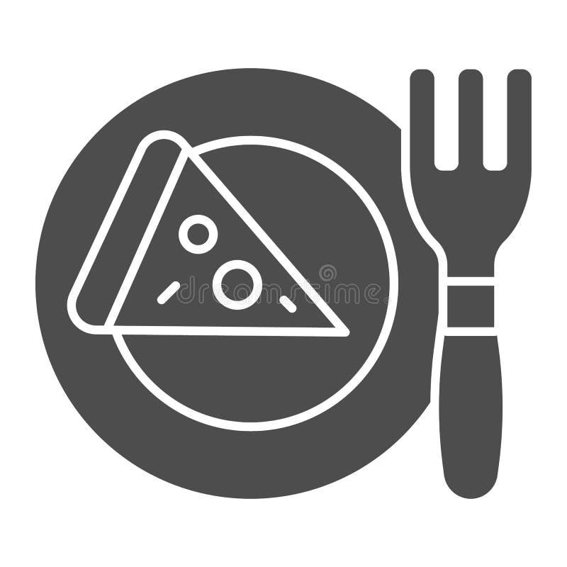 Pizza auf fester Ikone der Platte Abendessenvektorillustration lokalisiert auf Wei? Lebensmittel Glyph-Artdesign, bestimmt f?r Ne stock abbildung