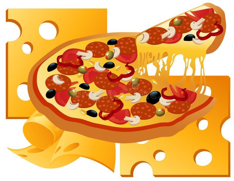 Pizza auf Käsehintergrund stock abbildung