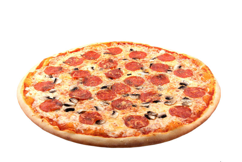 Pizza auf weißem Hintergrund stockfotografie