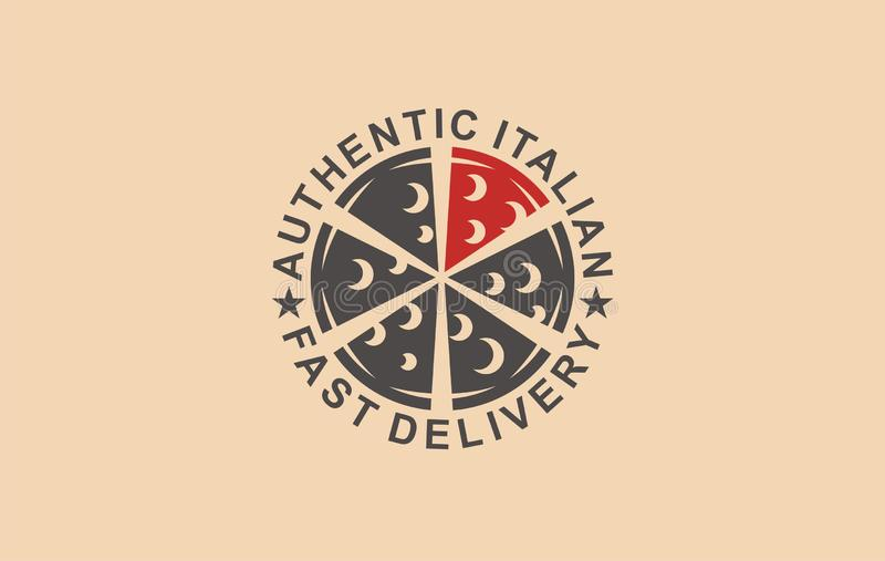 Pizza authentic Italian fast delivery. Pizzeria banner business cheese cafe. vector illustration
