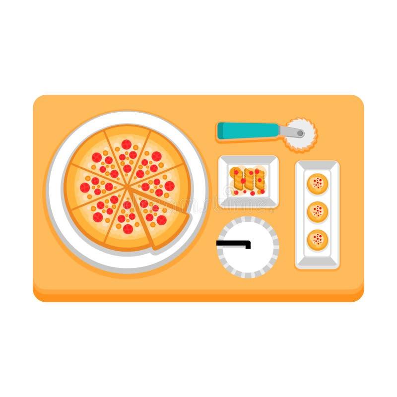 pizza avec des boissons et des casse-croûte illustration de vecteur