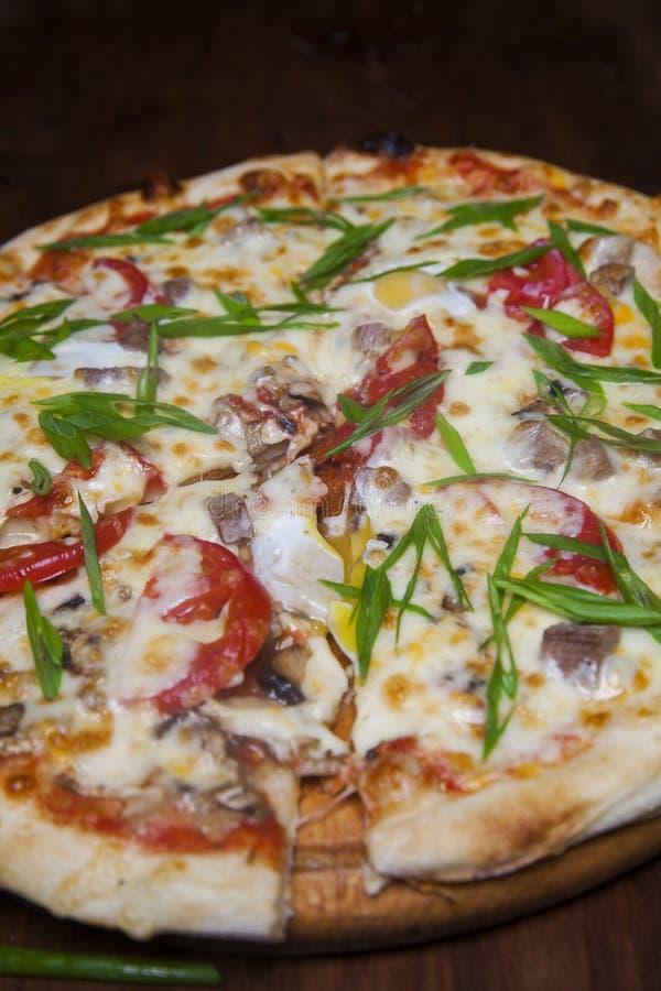 Pizza avec du fromage d'aubergine et l'oignon vert photos stock