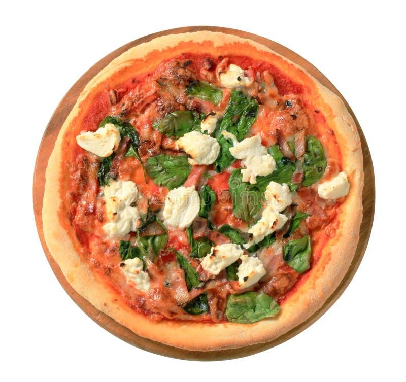 Pizza avec du fromage, le lard et les épinards photos stock