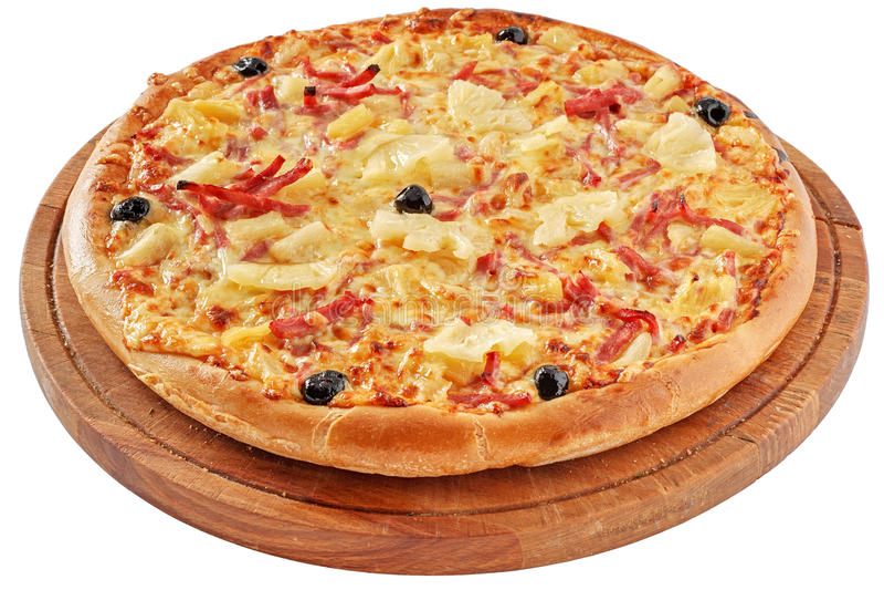 Pizza avec du jambon et l'ananas photos stock