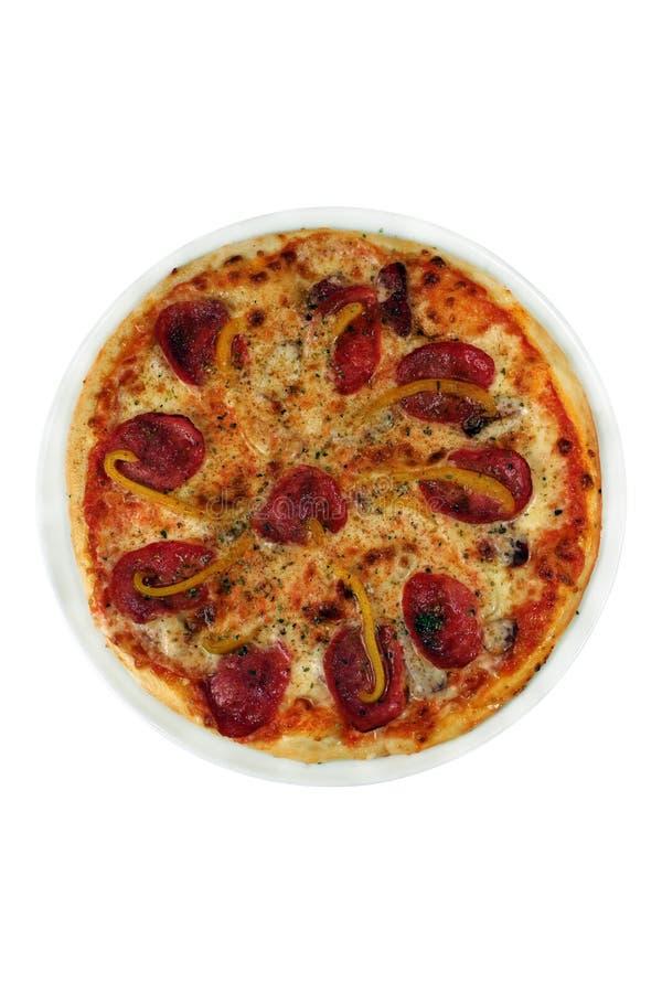 Pizza avec la saucisse et le poivre photos libres de droits