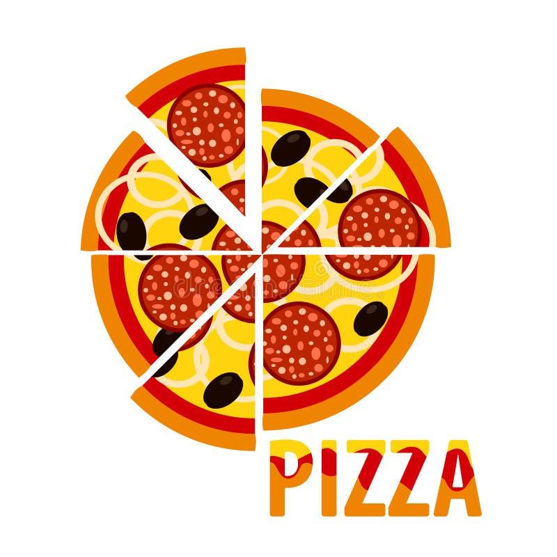 Pizza avec la saucisse, olives, oignons Aliments de pr?paration rapide italiens traditionnels Vue de ci-avant Illustration de vec illustration de vecteur