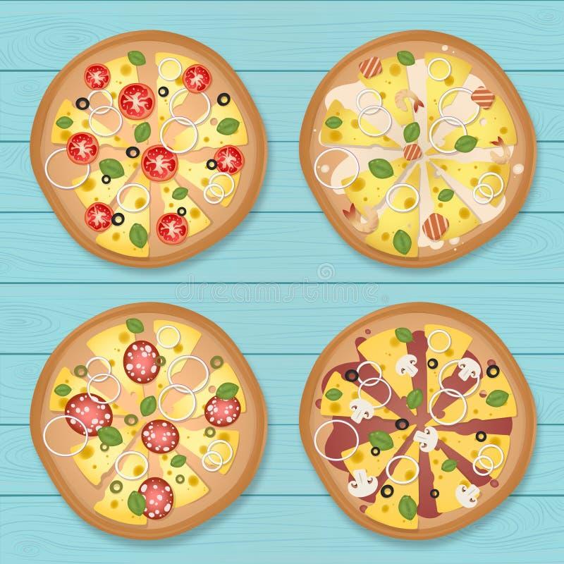 Pizza avec le fond en bois bleu photos libres de droits