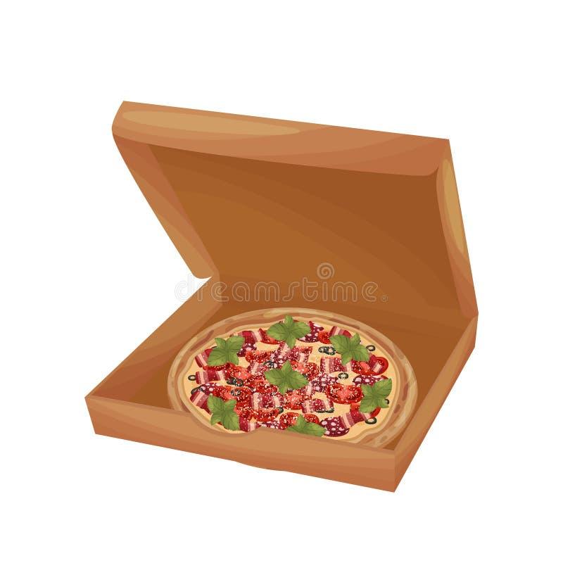 Pizza avec le lard et la saucisse dans une boîte Illustration de vecteur sur le fond blanc illustration de vecteur