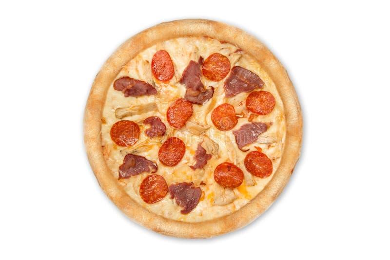 Pizza avec les pepperoni et le jambon d'isolement sur le fond blanc Vue sup?rieure photo stock