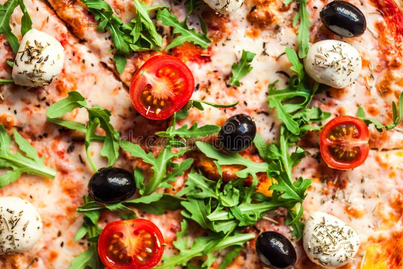 Pizza Backdround. Pizza Ready to Eat. Top view. Close up stock photography