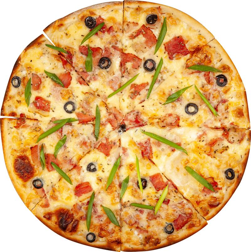 Pizza with bacon, cheese and olives top view royalty free stock images
