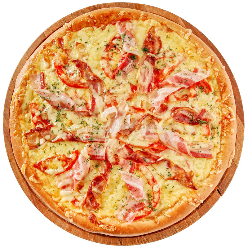 Pizza with bacon and chiken royalty free stock image