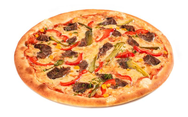Pizza with beef, sweet pepper, cucumber, sweet corn, cheese and greens on white isolated background. Italian cuisine. Top view stock photo