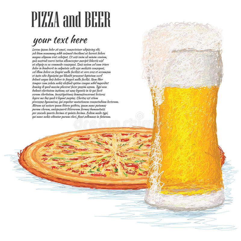 Download Pizza and beer stock vector. Image of enjoyment, drink - 29538222