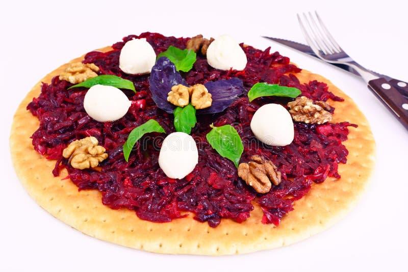 Pizza with Beet, Nut, Cheese, Mozzarella and Basil. Studio Photo royalty free stock photos