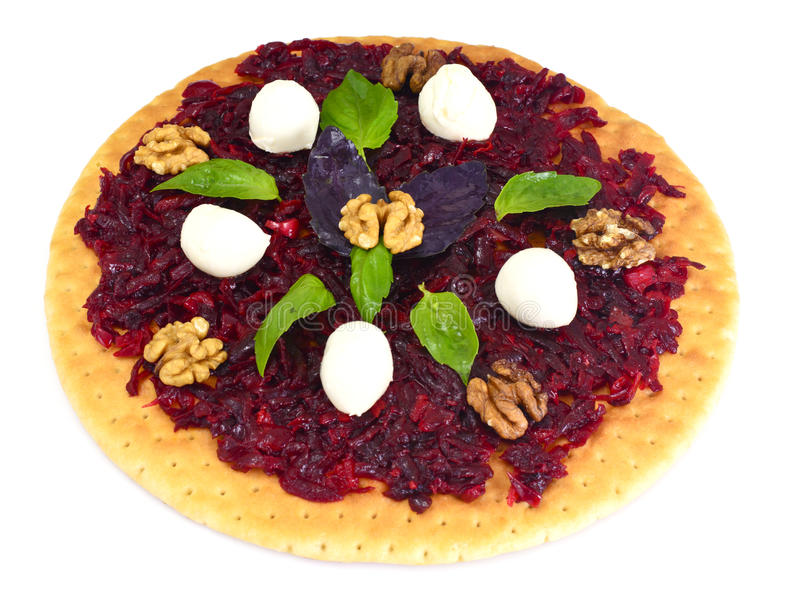 Pizza with Beet, Nut, Cheese, Mozzarella and Basil. Studio Photo royalty free stock images