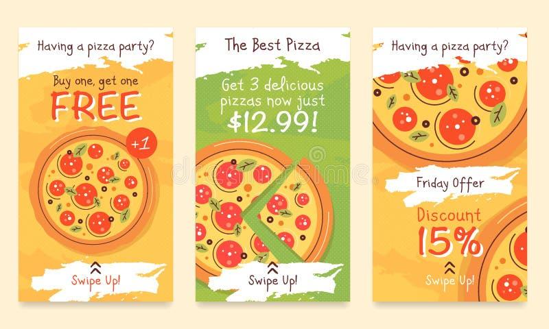 Pizza-berättelse-mall kopia royaltyfri illustrationer
