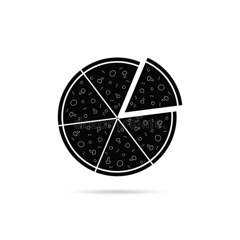 Pizza black icon vector. Pizza black icon art vector on white royalty free illustration