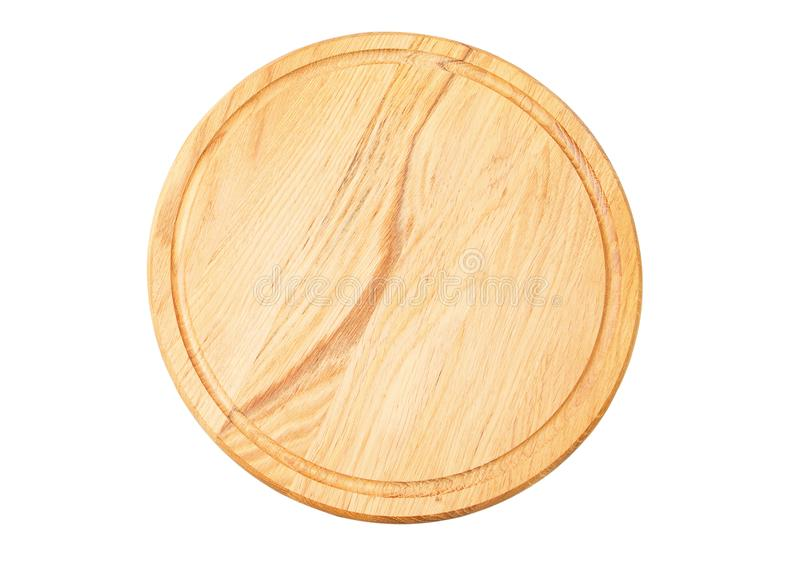 Pizza board isolated on white. Empty pizza board top view mock up - Wooden plate for meat and vegetable on white background royalty free stock images
