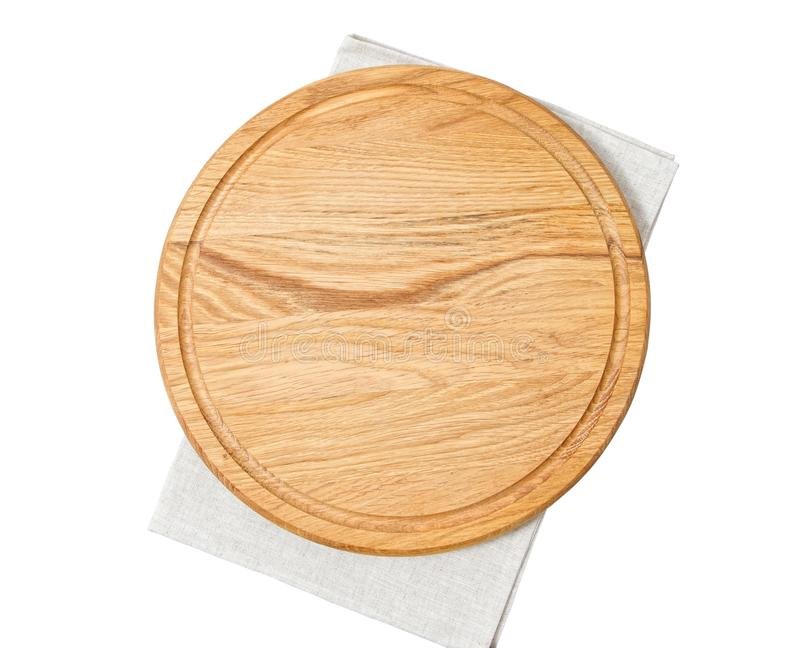 Pizza board with napkin with shadow isolated on white. Empty pizza board top view mock up - Wooden plate for meat and vegetable on. White background royalty free stock photography