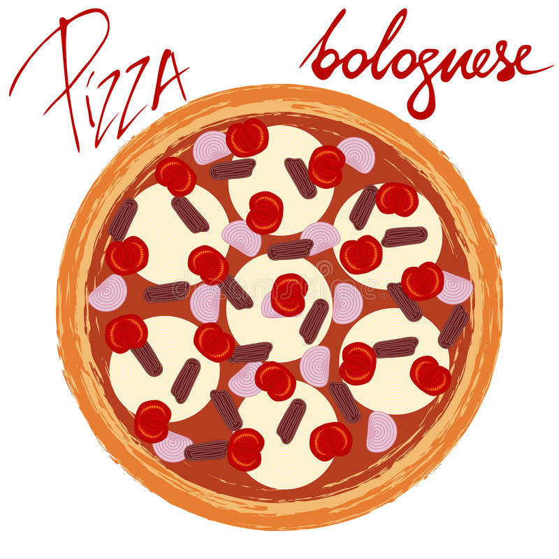 Pizza bolognese with handwritten caption. Pizza bolognese image on white background with handwritten caption. Vector illustration eps 10 royalty free illustration