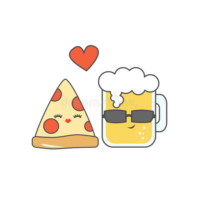 Pizza bonito dos desenhos animados e vidro da cerveja na ilustração engraçada do vetor do amor ilustração do vetor