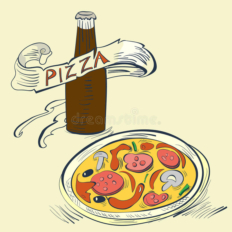 Pizza with Bottle of soda stock illustration