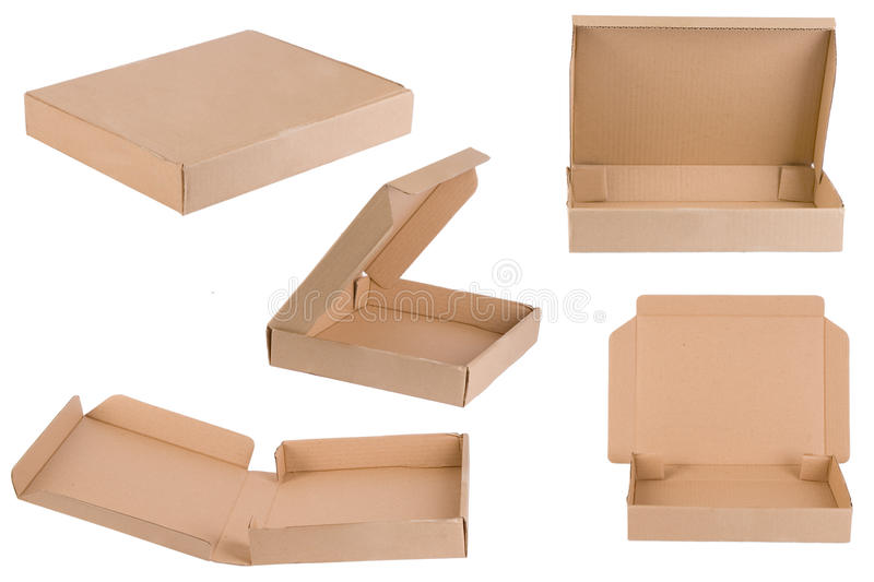 Pizza box. Shoot from different points of view royalty free stock photography
