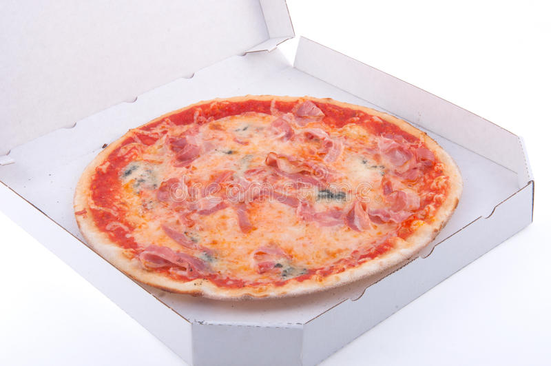 Pizza in a box royalty free stock image