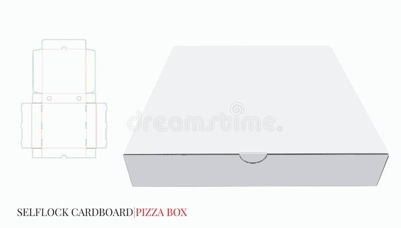 Pizza Box, Cardboard Self Lock Delivery Box. Vector with die cut / laser cut layers stock illustration