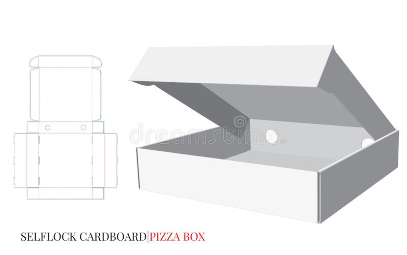 Pizza Box, Cardboard Self Lock Delivery Box. Vector with die cut / laser cut layers. White, blank, clear, isolated Pizza Box mock up on white background, 3D stock illustration
