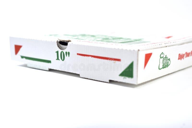 Pizza box, close up royalty free stock photography