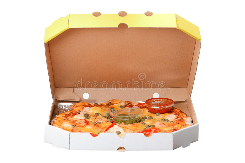 Pizza in box isolated on white background stock image