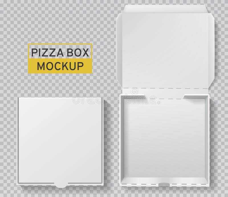 Pizza box. Open and closed pizza pack, top view paper white carton mockup, meal delivery, fast food lunch realistic royalty free illustration