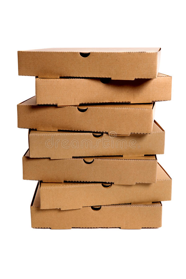 Pizza boxes, several in vertical tall stack isolated on white background royalty free stock photos